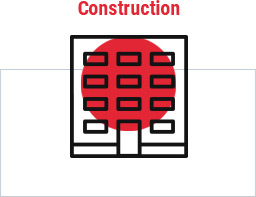 Red circle clipart image of multi-story building with word construction above and rectangle around
