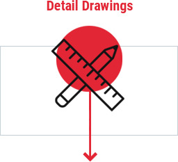 Red circle clipart of pencil and ruler outlined by rectangle and reads detail drawings