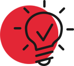 Red circle clipart of lightbulb that symbolizes MakLoc's innovative approach to design build construction