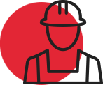 Red circle clipart image of construction worker that represents MakLoc Construction's commitment to safety