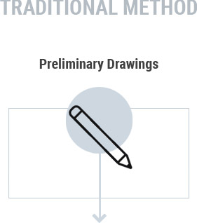 Grey circle clipart image of a construction pencil that reads 'preliminary drawings